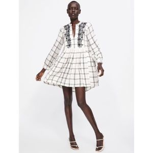 Zara Embroidered Checked Dress NWOT